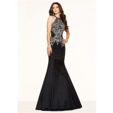 Sexy Mermaid Halter Backless Black Taffeta Beaded Prom Dress