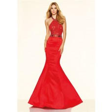 Sexy Mermaid Halter Backless Red Taffeta Ruffle Beaded Prom Dress