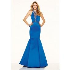 Sexy Mermaid Halter Backless Royal Blue Satin Beaded Prom Dress