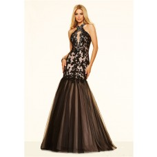 Sexy Mermaid Halter Cut Out Backless Black Tulle Lace Beaded Prom Dress