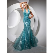 Sexy Mermaid Halter Long Blue Sequined Evening Prom Dress Open Back