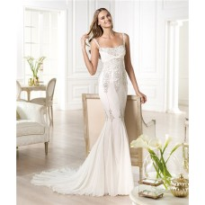 Sexy Mermaid Low Back Chiffon Embroidered Beaded Wedding Dress With Straps