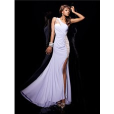 Sexy Mermaid One Shoulder Backless Long White Chiffon Beaded Prom Dresses With Split