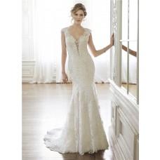 Sexy Mermaid Queen Anne Neckline Cap Sleeve Backless Lace Wedding Dress