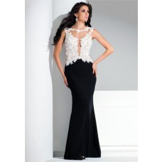 Sexy Mermaid See Through Open Back White And Black Lace Chiffon Long Evening Dress