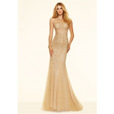 Sexy Mermaid Sheer See Through Gold Tulle Beaded Prom Dress