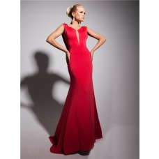 Sexy Mermaid Straps Deep V Backless Long Red Chiffon Evening Prom Dress