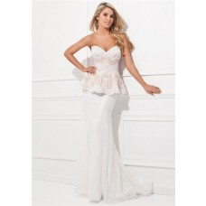 Sexy Mermaid Sweetheart Neckline V Back White Lace Peplum Long Evening Prom Dress