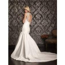 Sexy Mermaid Sweetheart Straps Taffeta Ruched Wedding Dress Keyhole Open Back