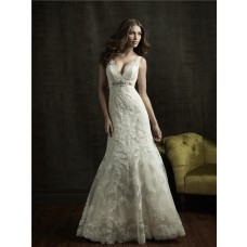 Sexy Mermaid V Neck Empire Waist Lace Wedding Dress With Crystal Sash