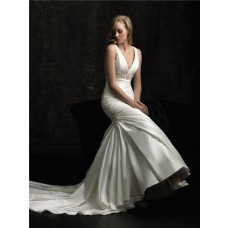 Sexy Mermaid V Neck Empire Waist Ruched Satin Wedding Dress With Train