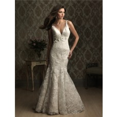 Sexy Mermaid V Neck Low Back Lace Wedding Dress With Flower Belt