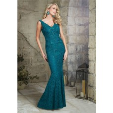 Sexy Mermaid V Neck Open Back Teal Lace Beaded Formal Occasion Evening Dress