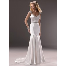 Sexy Mermaid V Neckline Open Back Satin Wedding Dress With Straps Belt