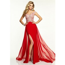 Sexy Off The Shoulder Long Red Chiffon Beaded Prom Dress With Slit