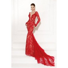 Sexy Plunging Neckline Open Back Long Sleeve Red Lace Evening Occasion Dress