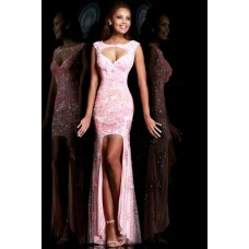 Sexy Sheath Cap Sleeve Backless High Low Long Pink Tulle Lace Prom Dress Cut Out