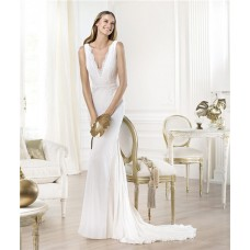 Sexy Sheath Deep V Neck Chiffon Lace Beach Destination Wedding Dress