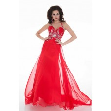 Sexy Sheath Halter Long Red Chiffon Beaded Evening Prom Dress