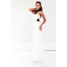 Sexy Sheath Halter Side Cut Out Backless Long Black White Chiffon Evening Prom Dress