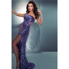 Sexy Sheath One Shoulder See Through Sequin Prom Dress With Slit