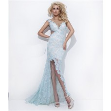 Sexy Sheath Sheer Illusion Neckline Backless Long Light Blue Lace Prom Dress Open Back