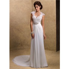Sexy Sheath Sweetheart Cap Sleeve Open Back Lace Chiffon Wedding Dress