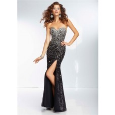 Sexy Sheath Sweetheart Long Black Silk Tulle Beaded Prom Dress With Slit Corset Back