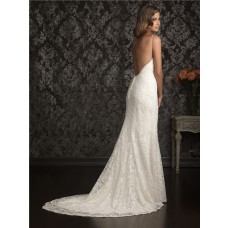 Sexy Sheath Sweetheart Spaghetti Straps Lace Destination Wedding Dress Backless
