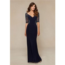 Sexy Sheath V Neck Navy Blue Chiffon Beaded Formal Evening Dress With Sleeves