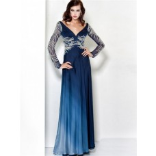 Sexy Sheath V Neck Navy Blue Chiffon Beading Evening Wear Dress With Long Sleeve