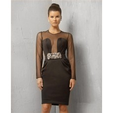 Sexy Sheer Scoop Short Black Tulle Evening Wear Dress With Long Sleeve