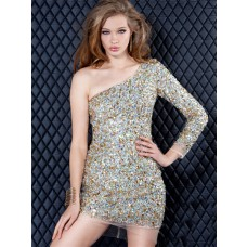 Sexy Sparkly Tight One Shoulder Mini Beaded Cocktail Evening Dress With Sleeve