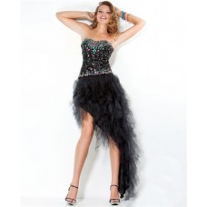 Sexy Strapless Asymmetrical Black Tulle Beaded Sweet Sixteen Party Prom Dress