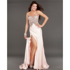 Sexy Strapless High Slit See Through Baby Pink Chiffon Beaded Prom Dress