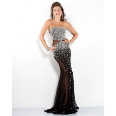 Sexy Strapless Side Cut Out See Through Long Black Tulle Beaded Evening Prom Dress