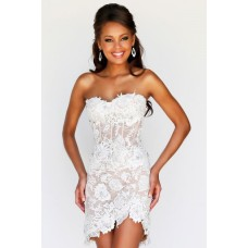 Sexy Sweetheart High Low Hem Short Mini White Lace Beaded Party Prom Dress