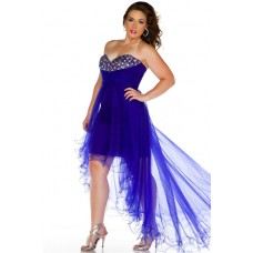 Sexy Sweetheart High Low Royal Blue Tulle Beaded Prom Dress Plus Size
