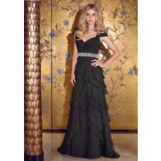 Sexy Sweetheart Open Back Cap Sleeve Long Black Chiffon Ruffle Layered Evening Dress