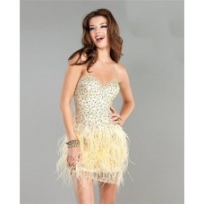 Sexy Sweetheart Short Mini Pale Yellow Beaded Feather Cocktail Party Dress