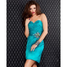Sexy Sweetheart Short Teal Blue Silk Beaded Evening Cocktail Party Dress