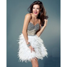 Sexy Sweetheart Short White Feather Beaded Sweet Sixteen Cocktail Party Dress