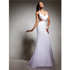 Sexy Sweetheart Straps Backless Long White Chiffon Beading Prom Dress Cut Outs