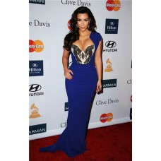 Sexy Tight Long Royal Blue Beaded Stretch Jersey Kim Kardashian Celebrity Dress