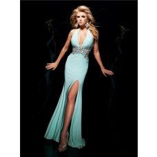 Sexy Tight Mermaid Halter Backless Long Mint Green Chiffon Beading Prom Dress