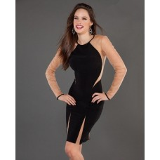 Sexy Tight Short/Mini Little Black Jersey Club Cocktail Dress With Sleeves