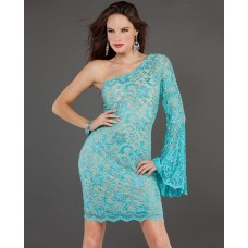 Sexy Tight Short/Mini Turquoise Beaded Lace Party Cocktail Dress With One Sleeve