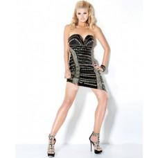 Sexy Tight Sweetheart Short/Mini Little Black Beaded Silk Club Cocktail Dress