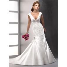 Sexy Trumpet/ Mermaid V neck Satin Wedding Dress With low back Swarovski Crystals