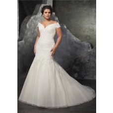 Sexy Trumpet Off The Shoulder Tulle Lace Beaded Plus Size Wedding Dress